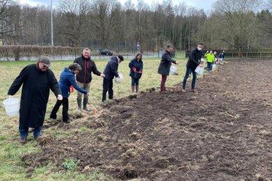 Dietmar Kammerschen (l.), der Direktor der Sächsischen Landesstiftung Natur und Umwelt, bringt zusammen mit Mitgliedern des Fördervereins Freibad Haselbrunn das Saatgut für die Schmetterlingswiese aus.