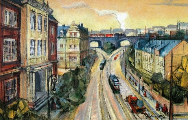 Das Gemälde von Martin Schmidt zeigt die Pausaer Brücke am Oberen Bahnhof in Plauen. Ein Großteil der Häuser steht nicht mehr.
