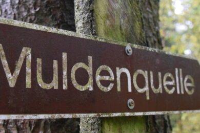 Ein Schild weist unweit des Meilers den Weg zur Quelle der Zwickauer Mulde.