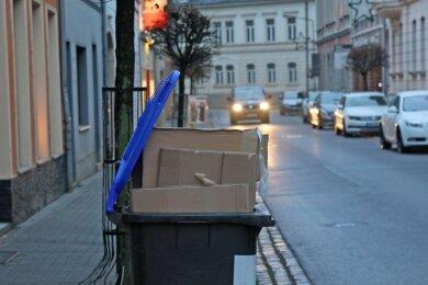 Derzeit kein seltenes Bild: In den blauen Tonnen ist wegen des an den Feiertagen angefallenen Mülls kein Platz mehr.