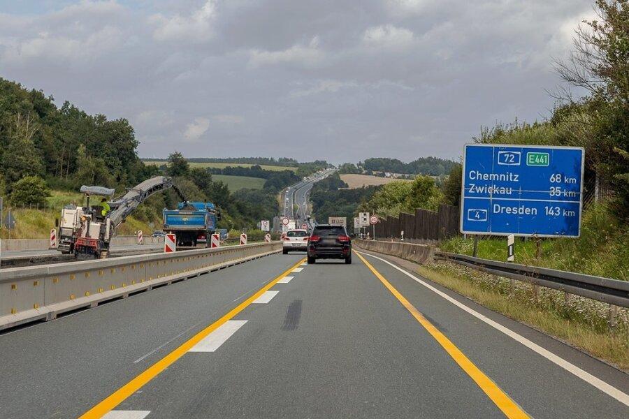 Zwischen Treuen und Plauen-Ost geht es auf der A 72 derzeit eng zu.