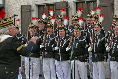 Keine Bergparade ohne Steigerlied - so wie auf diesem Bild bei der Parade in Zwickau 2016.