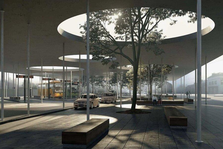 Ein Entwurf für den geplanten neuen Bahnhofsvorplatz Chemnitz.