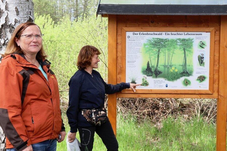 Elke Heinig und Angelika Baumann von der Grünen Liga an einer der neuen Infotafeln.