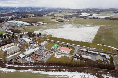 Das Luftbild zeigt das Gewerbegebiet an der Schöpsdrehe in Kauschwitz.