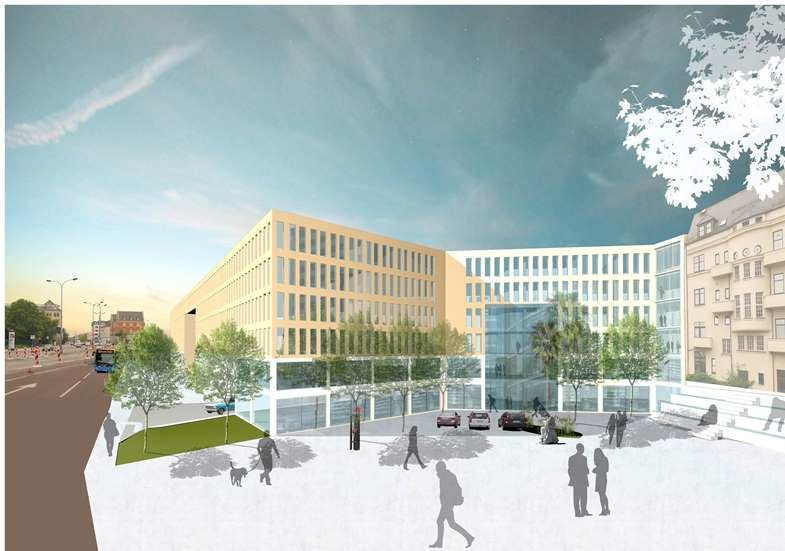"""Der Entwurf des Chemnitzer Architekten Peter Koch zeigt, wie das neue Technische Rathaus an der Bahnhofstraße aussehen könnte. Nach den Worten von Investor Claus Kellnberger soll dieser Plan aus dem Jahr 2013 """"zu 90 Prozent so umgesetzt werden""""."""