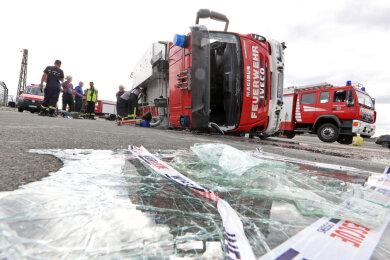 Das beim Fahrsicherheitstraining am vergangenen Samstag umgekippte Löschauto der Scharfensteiner Wehr.