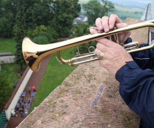 Musik vom Trompeterstuhl des Schlosses Augustusburg - hier Blasmusik mit den Chemnitzer Lausbuben im vergangenem Jahr.