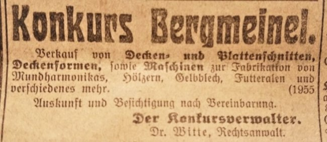"""Zufallsfund 2: Die Konkursmeldung der Firma Bergmeinel. Sie stand in der """"Klingenthaler Zeitung"""" vom 4. März 1926. Die Zeitung wurde unter dem Fußbodenbelag einer Zwotaer Wohnung entdeckt."""