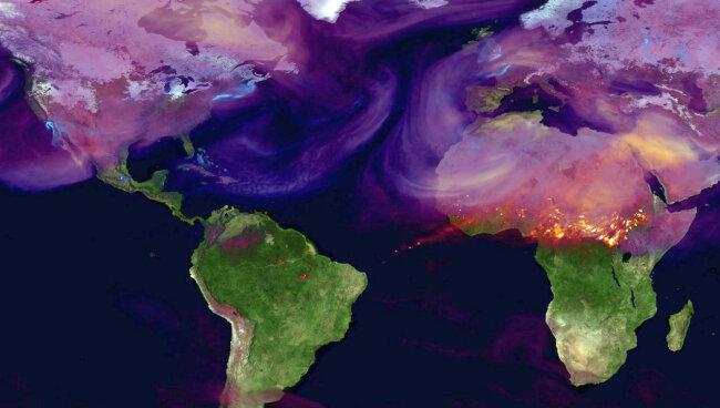 Nasa-Grafik des Kohlendioxidausstoßes durch Großstädte und großflächige Feuer.