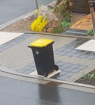 In der Fühlingsstraße in Weißenborn wurde die geleerte Tonne zielsicher auf einer Markierung für Sehbehinderte abgestellt.