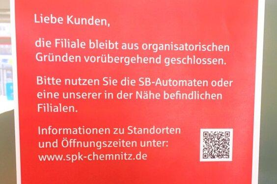 Sparkasse und Volksbank Chemnitz schließen mehrere Filialen