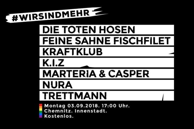 Livestream: Konzert #wirsindmehr am 3. September in Chemnitz