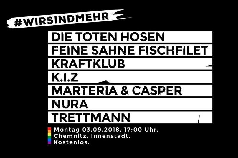 #wirsindmehr: Diese Musiker treten am Montag in Chemnitz auf