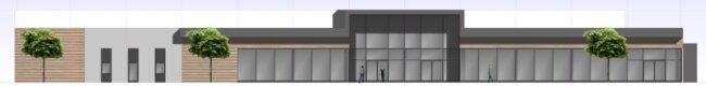 Eine Südansicht zeigt den neben der Sachsen-Allee geplanten neuen Vollsortiment-Markt. 30.000 Artikel will Edeka ab Herbst 2013 anbieten.