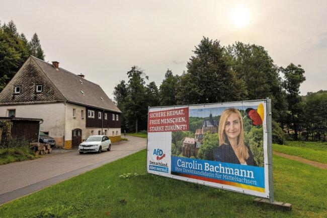 Ein Heimspiel für Carolin Bachmann: Die AfD-Direktkandidatin stammt aus Dorfchemnitz. Hier holte sie am Sonntag über 52 Prozent.