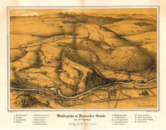 Die Lithografie von 1860 zeigt den Streckenverlauf der Windbergbahn.