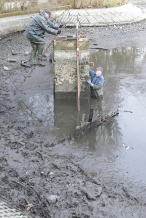 Im sogenannten Mönch war der Abfluss durch Äste blockiert. Die Fische kamen nicht durch.