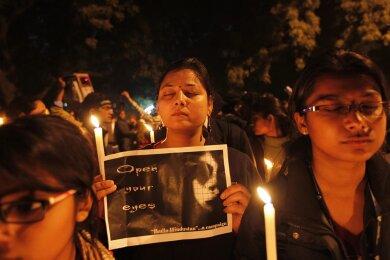 Mahnwache in Neu Delhi am 16. Januar 2013 - wenige Wochen nach dem Tod von Jyoti Singh