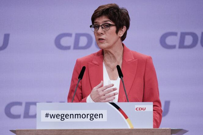 Die scheidende CDU-Vorsitzende Annegret Kramp-Karrenbauer spricht beim digitalen Bundesparteitag der CDU.