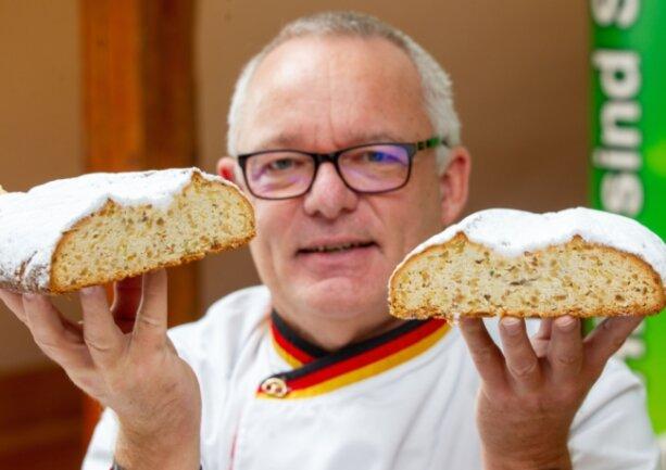 Stollenprüfer Michael Isensee testete diesmal in Plauen 32 Stollen von 17 vogtländischen Bäckereien.