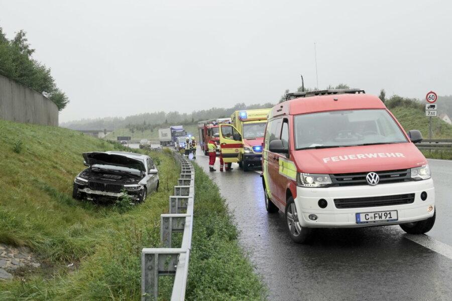 Unfall auf der B 174 bei Kleinolbersdorf