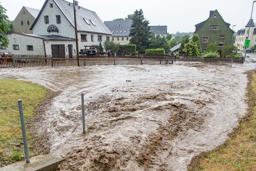 Stellenweise fielen in Gehringswalde in zwei Stunden mehr als 70 Millimeter Regen.