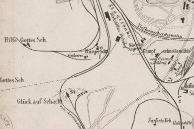 Der Gleisplan zeigt sowohl den Anschluss der drei Schächte an die von Arnimsche Kohlenbahn (links) als auch das Rückstoßgleis zur Schwarzenberger Linie mit Einmündung am Haltepunkt Schedewitz.