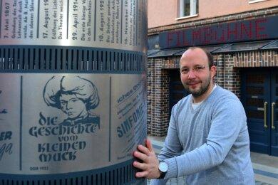 """Andreas Ronneberger hat jetzt auch die Immobilie des Kinos """"Filmbühne"""" in Mittweida gekauft. Bisher war der Kinobetreiber nur Mieter. Damit sind ihm nun auch Investitionen ins Haus möglich."""