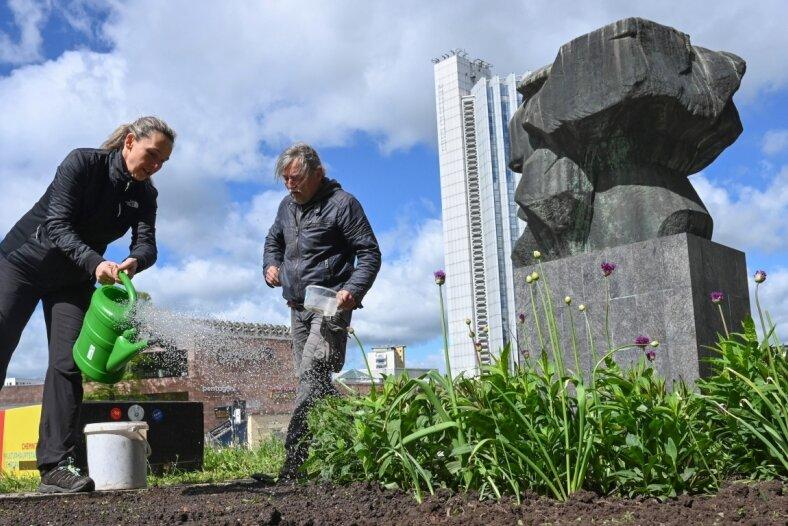 Ulrike Voigt und Matthias Höppner, der beim Verein Nachhall aktiv ist, sähen eine Blühmischung auf einem der Beete am Marx-Monument aus. Die Chemnitzerin kümmert sich seit dem vorigen Jahr um eine Grünfläche am Denkmal. Auch Sonnenblumen sollen dort dieses Jahr blühen.