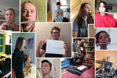 Probe mal anders: In der Zeit der Kontaktbeschränkungen übten die jungen Musiker virtuell und trafen sich zum Musizieren im Videochat.