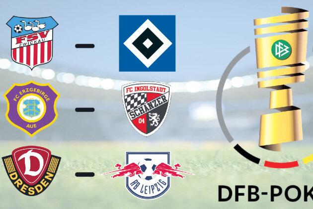 Torsten Ziegner - Diese Begegnungen mit sächsischer Beteiligung wurden in der Nacht zu Sonntag ausgelost. Zudem wurde das neue Logo des DFB-Pokals (r.) präsentiert.