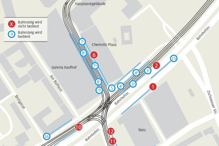 Was sich ab Montag an der Chemnitzer Zentralhaltestelle ändert