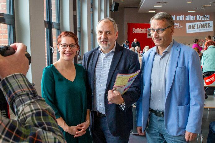 v.l.n.r.: Marika Tändler-Walenta (Kreisvorsitzende, MdL), Volker Holuscha (OB Flöha), Rico Gebhardt (MdL, Fraktionsvorsitzender)