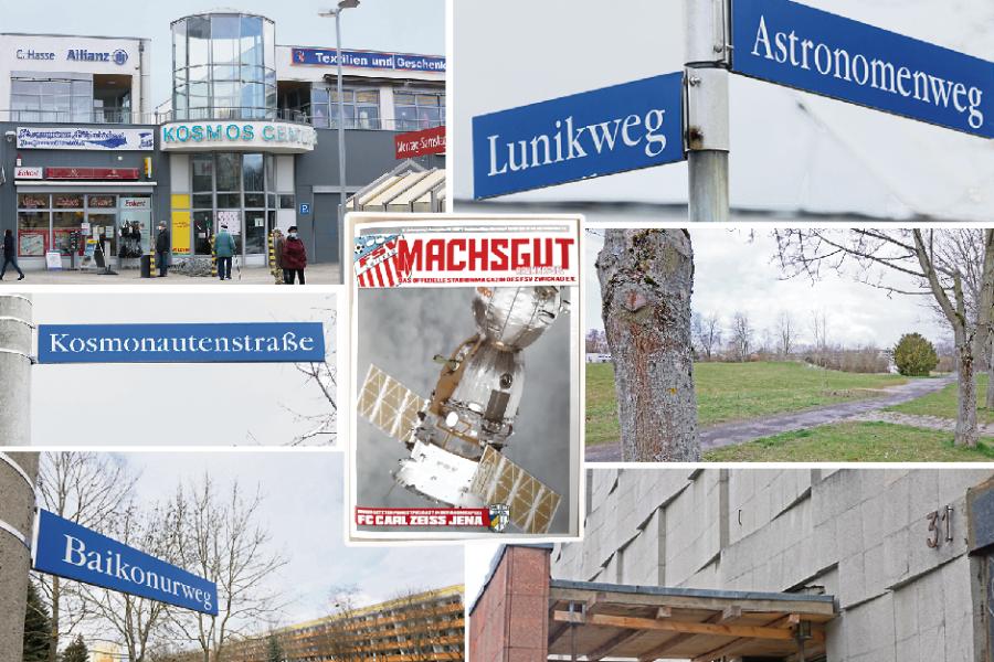 Im Gebiet nördlich der Sternen- und östlich der Scheffelstraße befindet sich das Eckersbacher Kosmonautenviertel. Die grüne Wiese zeigt den Standort der abgerissenen Gagarinschule.