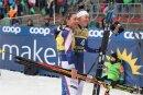 Vierte und trotzdem glücklich: Julia Kern (links) mit Teamgefährtin Sophie Caldwell beim Skilanglauf-Weltcup in Dresden.