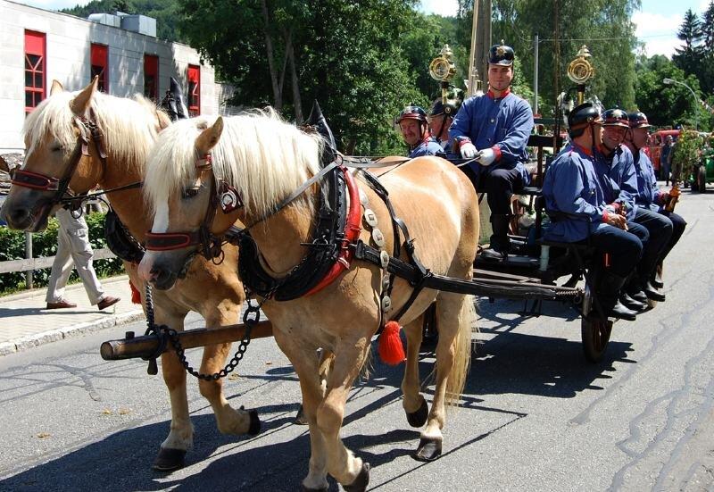 Die Feuerwehr hat in Mulda eine lange Geschichte. Sie wurde gestern im großen Festumzug durch mehrere Wagen dargestellt.