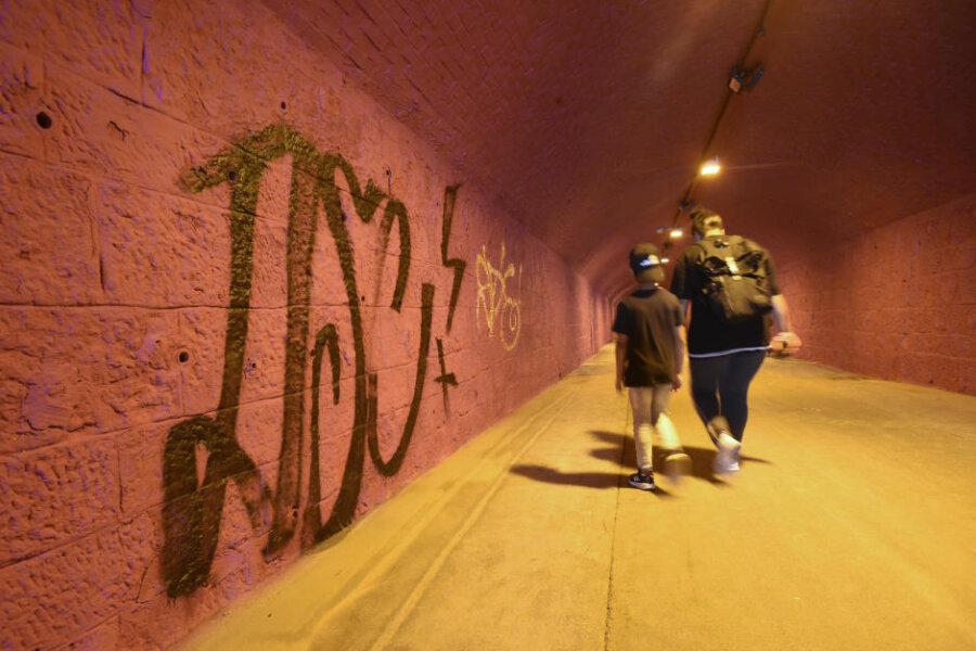 Grundfarbe schön, Graffito nicht - sagt die Künstlerin. Die Bazillenröhre zwischen Sonnenberg und Innenstadt sieht ein bisschen anders aus.