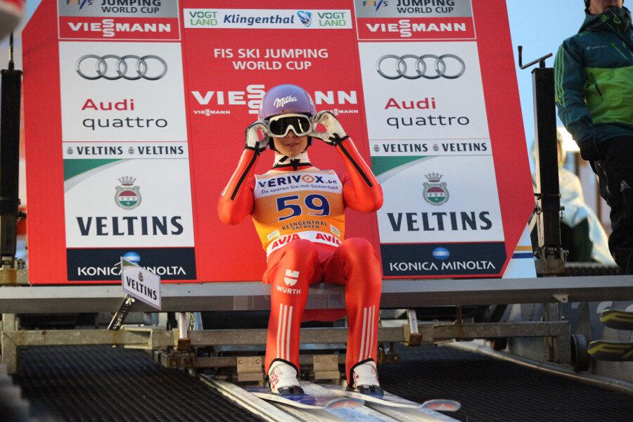 Andreas Wellinger vor dem Sprung.