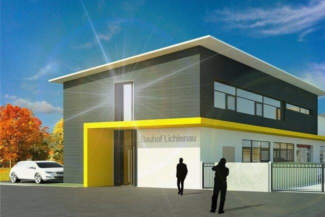 So sieht die Visualisierung zur Vorplanung des künftigen Bauhofes in Lichtenau aus. Baustart soll dieses Jahr sein.