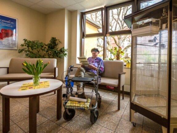 """Im Gemeinschaftsbereich im Obergeschoss können die Bewohner entspannen. Aus der Voliere hallt Gezwitscher von Zebrafinken. """"Diese Vogelart ist besonders gesellig"""", erläutert Heimleiter Markus Kärmer. Eine Seniorin hat es sich bequem gemacht und liest Zeitung."""