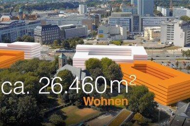 Eine Animation der Projektentwicklung zeigt grob, wie das Quartier im Zentrum angedacht ist.