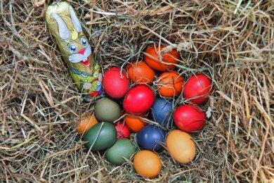 Typisch Ostern: Ein Schokohase und jede Menge Eier im Nest. Auch wenn die Feiern pandemiebedingt dieses Jahr nur im kleineren Kreis stattfinden, spielen Familientraditionen eine große Rolle.