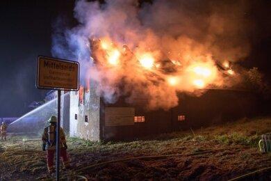 Am 17. Oktober ist an der B 101 in Mittelsaida ein leer stehender Gasthof abgebrannt.