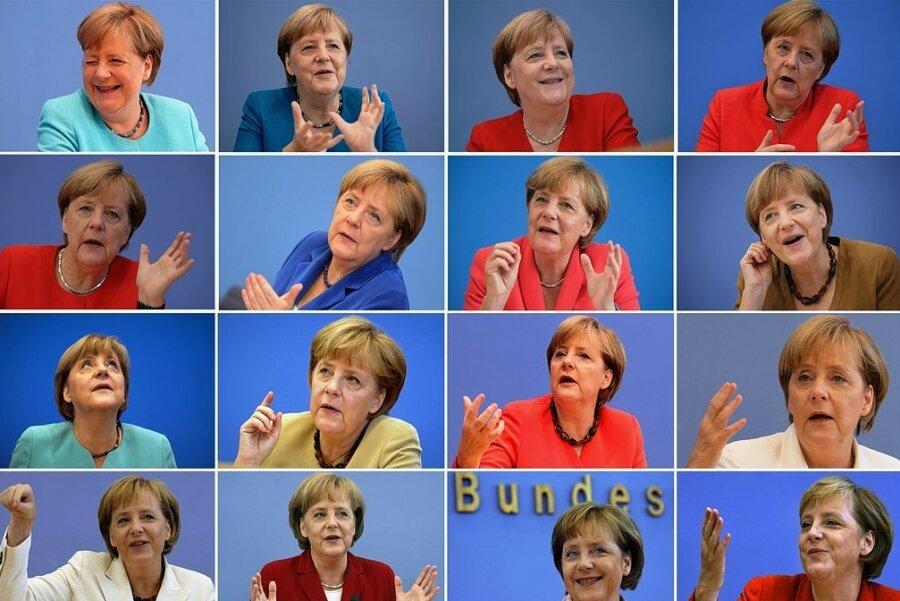 Die Bildkombo zeigt Bundeskanzlerin Angela Merkel (CDU) während ihrer traditionellen Bundespressekonferenz im Sommer in Berlin von 2021 bis 2006 (oben links bis unten rechts).