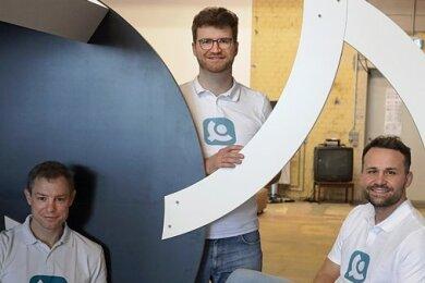 """Benedict Rehbein, Marcus Rehwald und Alexander Georgi (von links), die Gründer der Firma """"eCovery""""."""