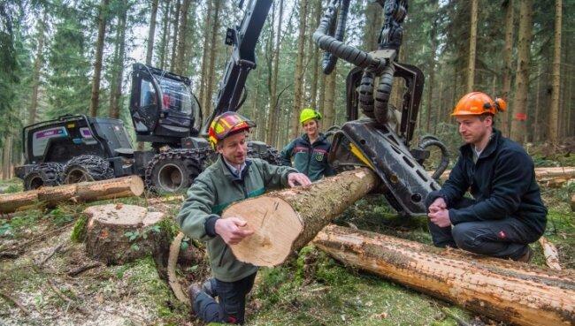 Clemens Weiser vom Forstbezirk Eibenstock (l.) und Bockaus Revierförsterin Anne Borowski lassen sich von Thomas Weingardt, Inhaber des Forstlichen Dienstleistungsunternehmens, die Maschine erklären.