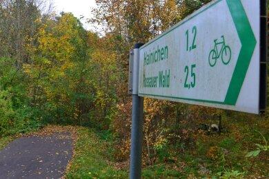 Der Striegistalradweg endet in Hainichen zurzeit noch kurz nach dem Viadukt über die Mittweidaer Straße im Gewerbegebiet.