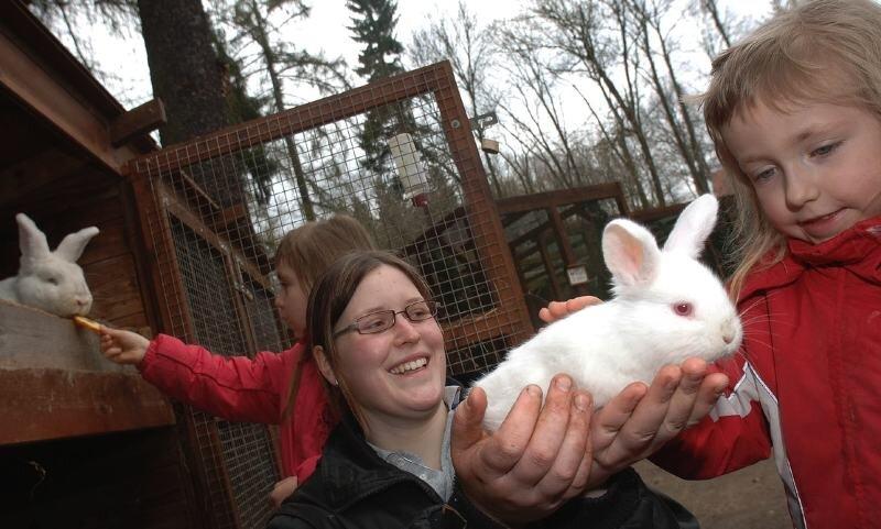 Pauline (hi.) und Luise aus Frohsdorf (r.) fanden am Wochenende den Kaninchennachwuchs im Peniger Naturpark Köbe klasse. Janine Kaiser, Teilnehmerin am Freiwilligen Ökologischen Jahr, ermöglichte es, dass die Tiere auch mal gestreichelt werden konnten.