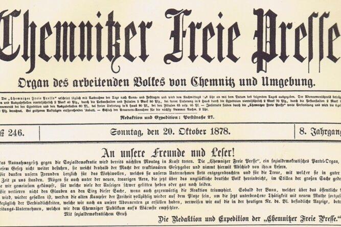 """Letzte Ausgabe der ersten """"Chemnitzer Freie Presse"""", 20. Oktober 1878."""